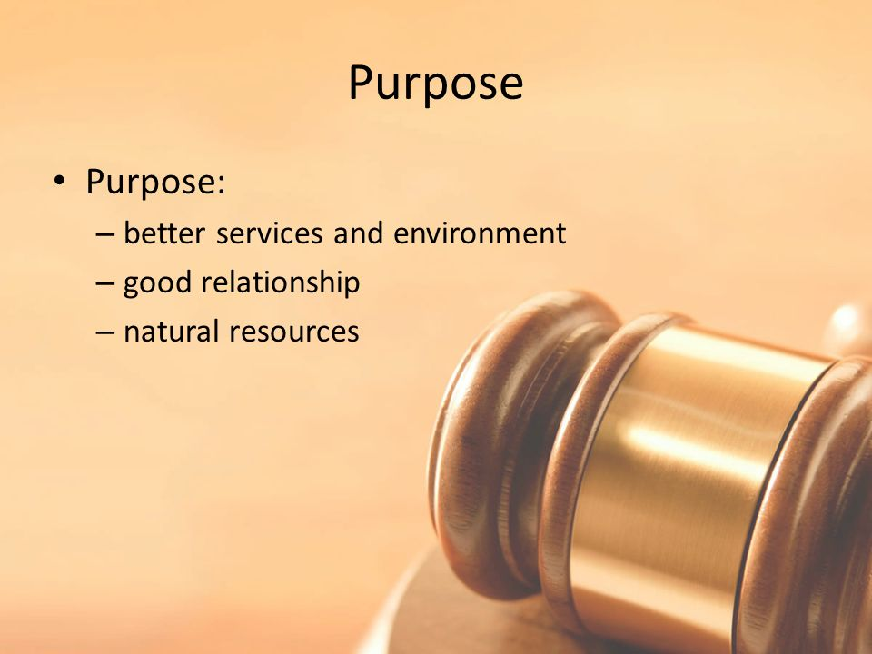 Purpose Purpose: – better services and environment – good relationship – natural resources