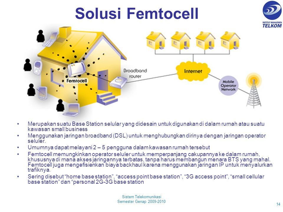 Solusi Femtocell Sistem Telekomunikasi Semester Genap 2009-2010 14 Merupakan suatu Base Station selular yang didesain untuk digunakan di dalam rumah atau suatu kawasan small business Menggunakan jaringan broadband (DSL) untuk menghubungkan dirinya dengan jaringan operator seluler.