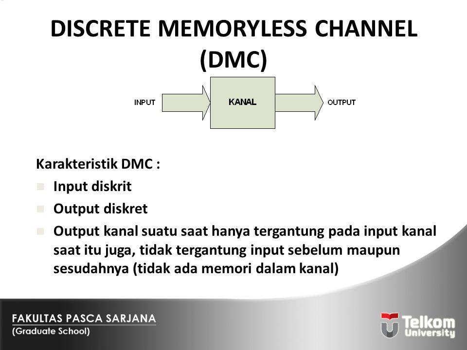 DISCRETE MEMORYLESS CHANNEL (DMC) Karakteristik DMC : Input diskrit Output diskret Output kanal suatu saat hanya tergantung pada input kanal saat itu
