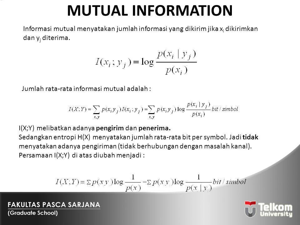 MUTUAL INFORMATION Informasi mutual menyatakan jumlah informasi yang dikirim jika x i dikirimkan dan y j diterima. Jumlah rata-rata informasi mutual a