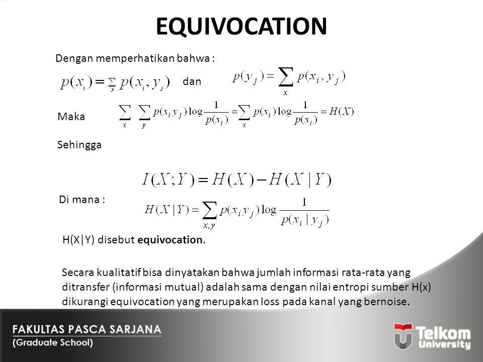 EQUIVOCATION Dengan memperhatikan bahwa : Secara kualitatif bisa dinyatakan bahwa jumlah informasi rata-rata yang ditransfer (informasi mutual) adalah