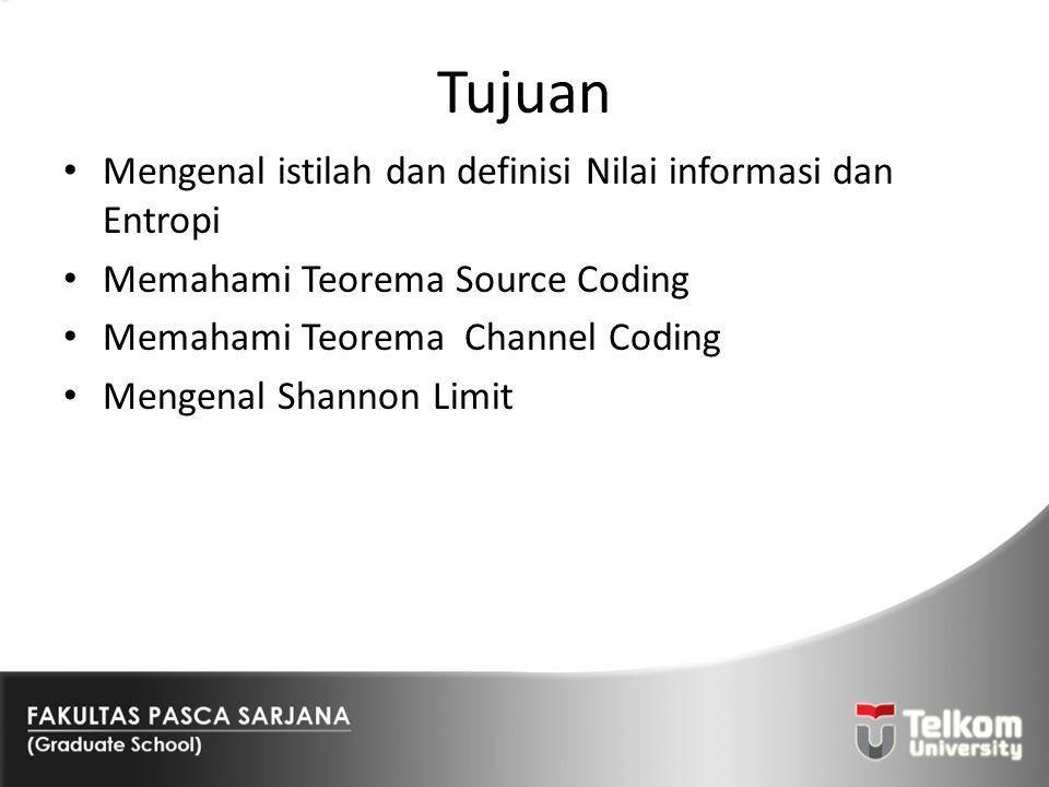 Tujuan Mengenal istilah dan definisi Nilai informasi dan Entropi Memahami Teorema Source Coding Memahami Teorema Channel Coding Mengenal Shannon Limit