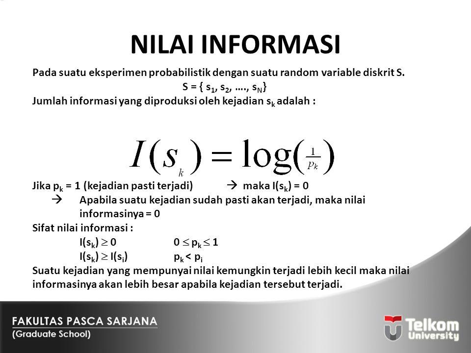 NILAI INFORMASI Pada suatu eksperimen probabilistik dengan suatu random variable diskrit S. S = { s 1, s 2, …., s N } Jumlah informasi yang diproduksi