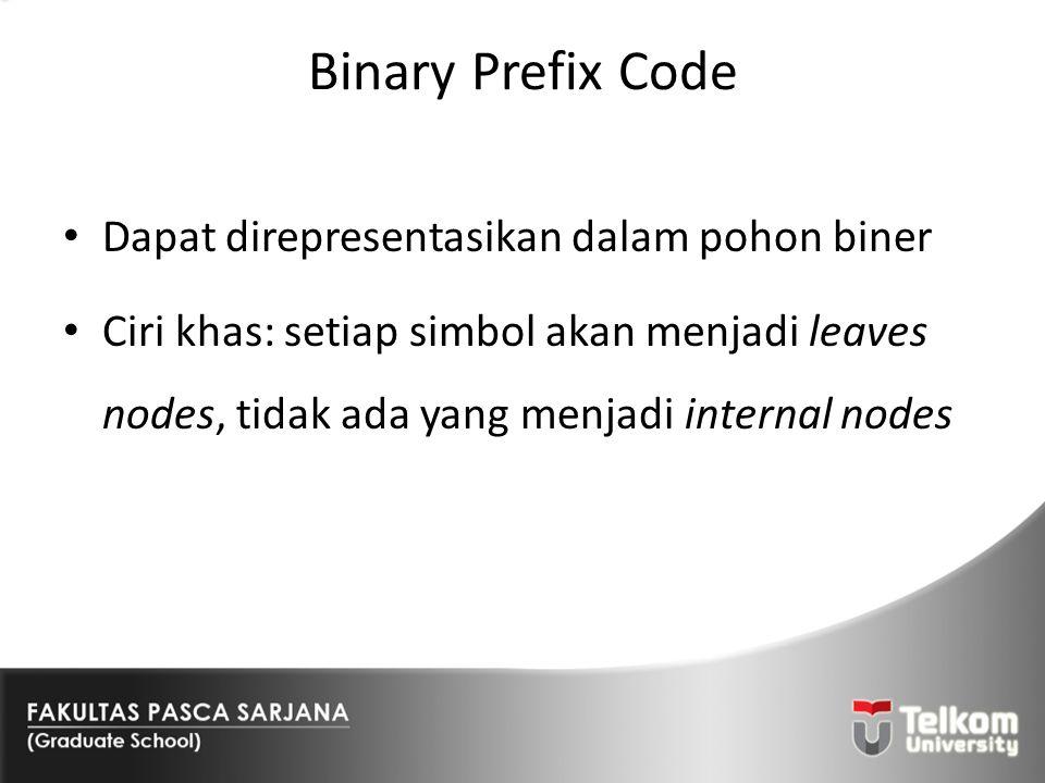 Binary Prefix Code Dapat direpresentasikan dalam pohon biner Ciri khas: setiap simbol akan menjadi leaves nodes, tidak ada yang menjadi internal nodes