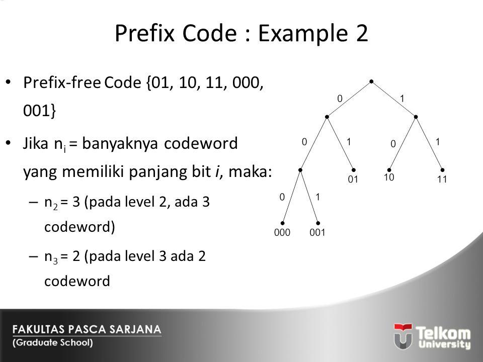 Prefix Code : Example 2 Prefix-free Code {01, 10, 11, 000, 001} Jika n i = banyaknya codeword yang memiliki panjang bit i, maka: – n 2 = 3 (pada level