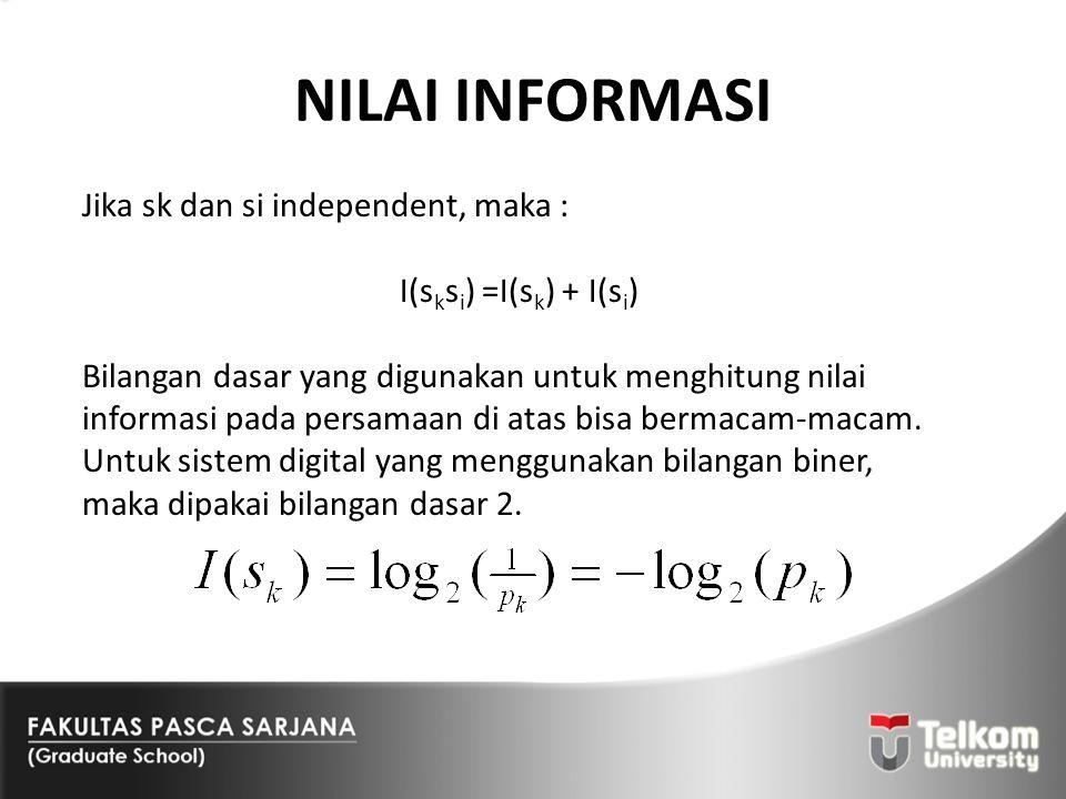 NILAI INFORMASI Jika sk dan si independent, maka : I(s k s i ) =I(s k ) + I(s i ) Bilangan dasar yang digunakan untuk menghitung nilai informasi pada