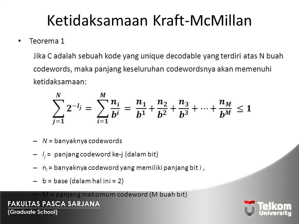Ketidaksamaan Kraft-McMillan Teorema 1 Jika C adalah sebuah kode yang unique decodable yang terdiri atas N buah codewords, maka panjang keseluruhan co