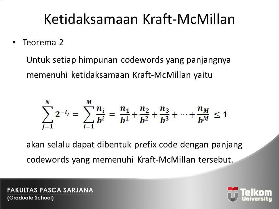Ketidaksamaan Kraft-McMillan Teorema 2 Untuk setiap himpunan codewords yang panjangnya memenuhi ketidaksamaan Kraft-McMillan yaitu akan selalu dapat d