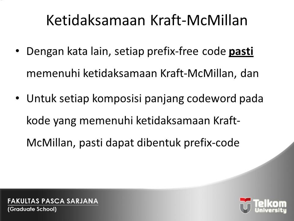 Ketidaksamaan Kraft-McMillan Dengan kata lain, setiap prefix-free code pasti memenuhi ketidaksamaan Kraft-McMillan, dan Untuk setiap komposisi panjang
