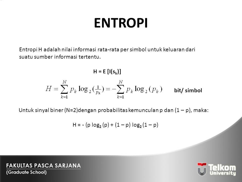 ENTROPI Entropi H adalah nilai informasi rata-rata per simbol untuk keluaran dari suatu sumber informasi tertentu. H = E [I(s k )] bit/ simbol Untuk s