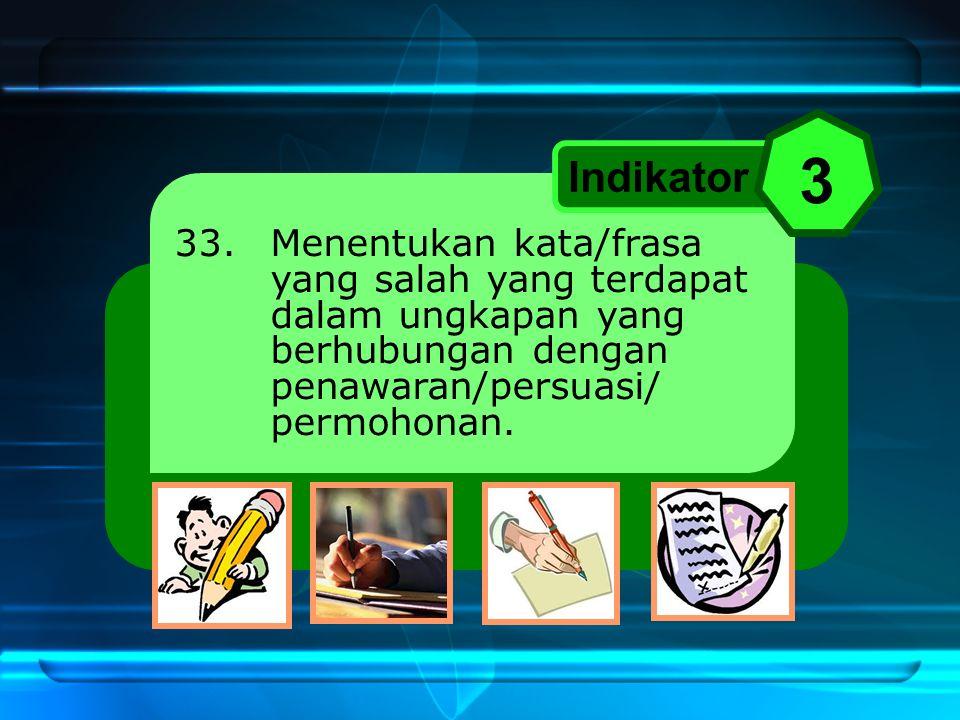 33. Menentukan kata/frasa yang salah yang terdapat dalam ungkapan yang berhubungan dengan penawaran/persuasi/ permohonan. Indikator 3