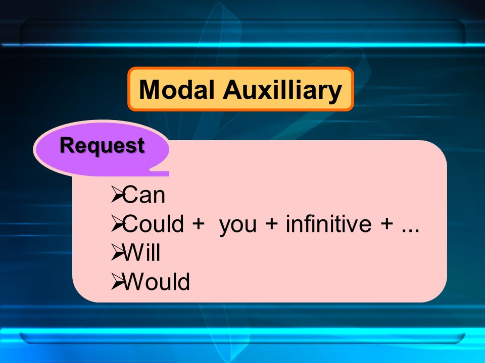 Modal Auxilliary  Can  Could + you + infinitive +...  Will  Would Request