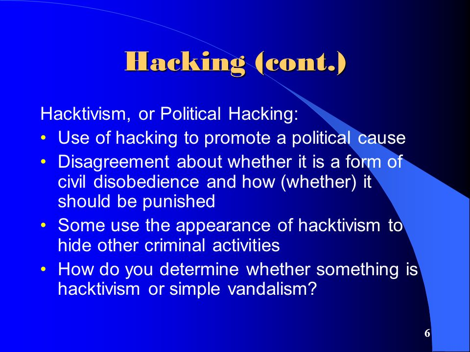 7 Hacking (cont.) The Law: Catching and Punishing Hackers: 1986 Congress passed the Computer Fraud and Abuse Act (CFAA) –Covers government computers, financial and medical systems, and activities that involve computers in more than one state, including computers connected to the Internet –The USA Patriot Act expanded the definition of loss to include the cost of responding to an attack, assessing damage and restoring systems
