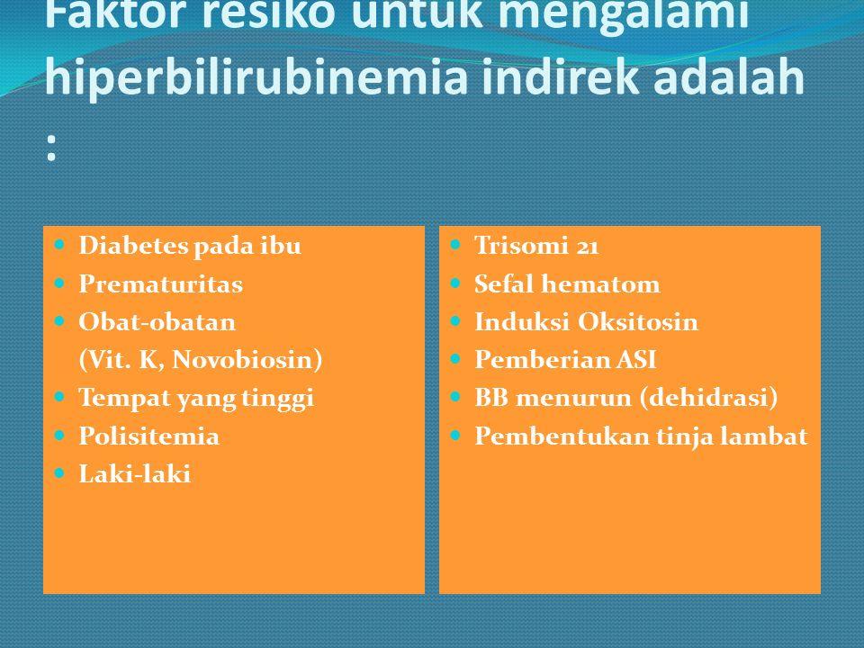 Faktor resiko untuk mengalami hiperbilirubinemia indirek adalah : Diabetes pada ibu Prematuritas Obat-obatan (Vit. K, Novobiosin) Tempat yang tinggi P