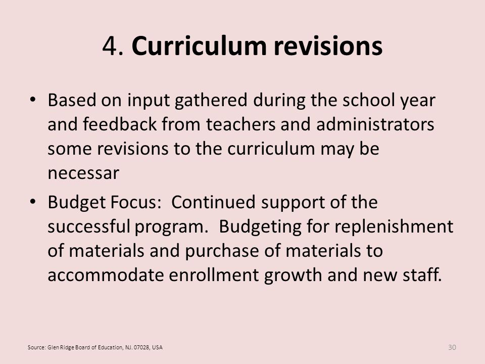 4. Curriculum revisions Based on input gathered during the school year and feedback from teachers and administrators some revisions to the curriculum
