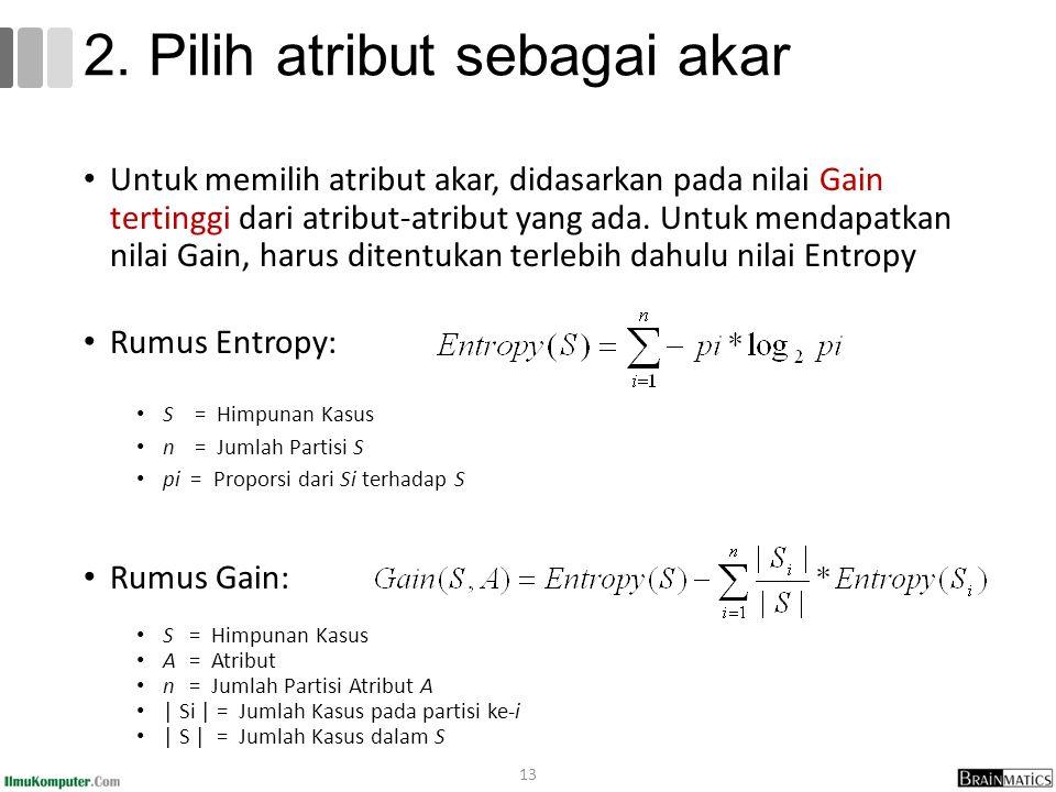 Untuk memilih atribut akar, didasarkan pada nilai Gain tertinggi dari atribut-atribut yang ada. Untuk mendapatkan nilai Gain, harus ditentukan terlebi