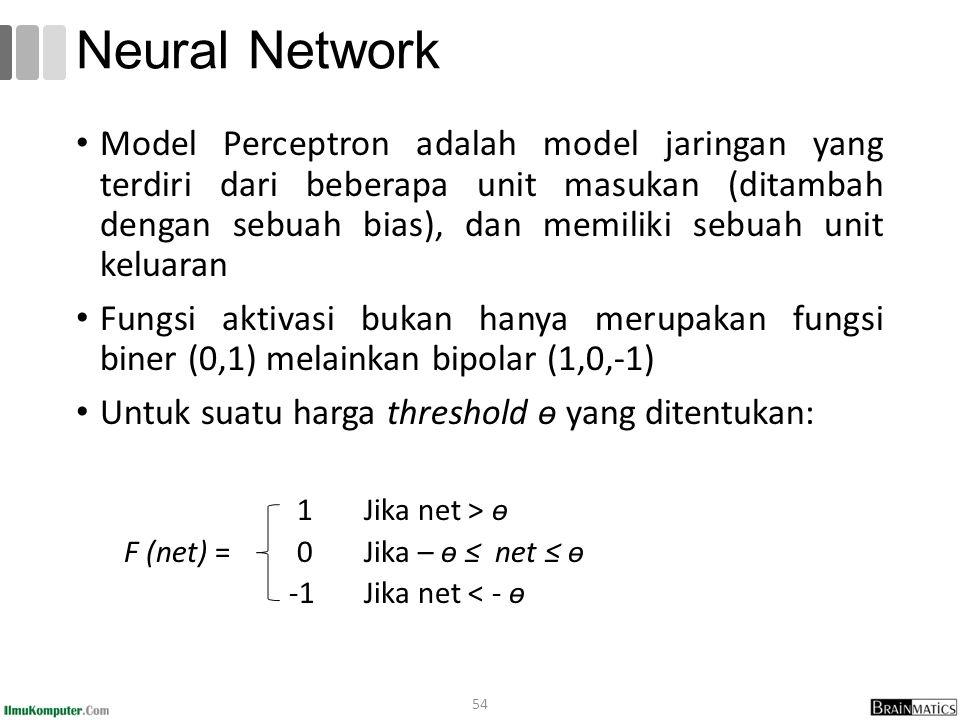 Model Perceptron adalah model jaringan yang terdiri dari beberapa unit masukan (ditambah dengan sebuah bias), dan memiliki sebuah unit keluaran Fungsi