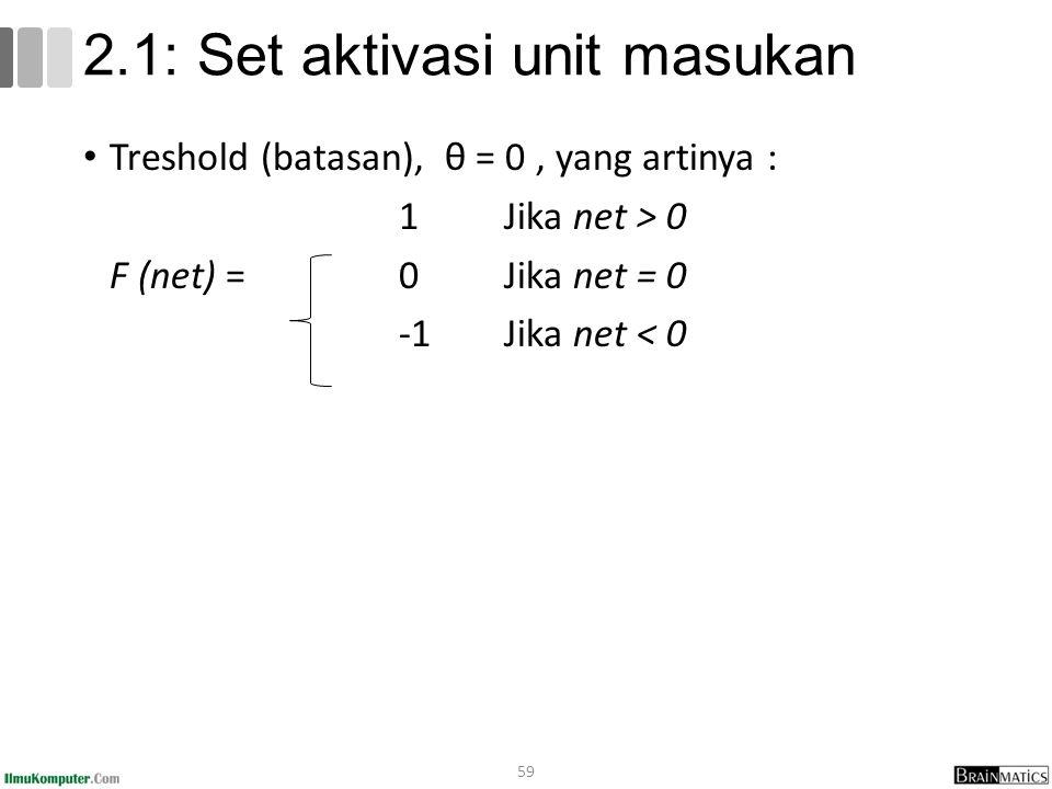 Treshold (batasan), θ = 0, yang artinya : 1Jika net > 0 F (net) = 0Jika net = 0 -1Jika net < 0 59 2.1: Set aktivasi unit masukan