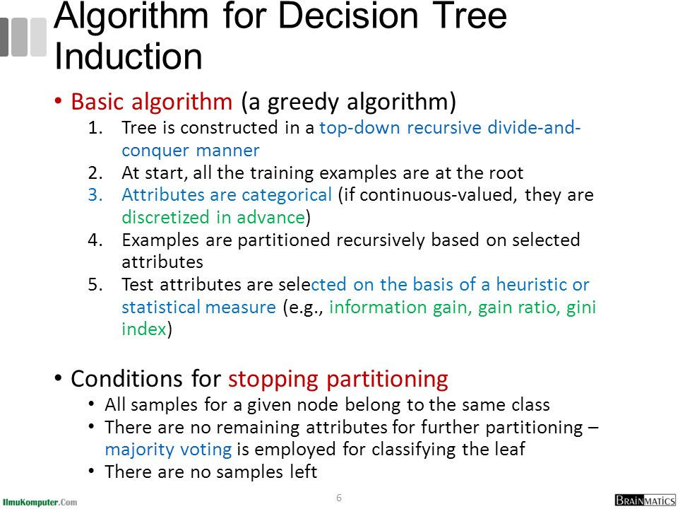 Basic algorithm (a greedy algorithm) 1.Tree is constructed in a top-down recursive divide-and- conquer manner 2.At start, all the training examples are at the root 3.Attributes are categorical (if continuous-valued, they are discretized in advance) 4.Examples are partitioned recursively based on selected attributes 5.Test attributes are selected on the basis of a heuristic or statistical measure (e.g., information gain, gain ratio, gini index) Conditions for stopping partitioning All samples for a given node belong to the same class There are no remaining attributes for further partitioning – majority voting is employed for classifying the leaf There are no samples left 6 Algorithm for Decision Tree Induction