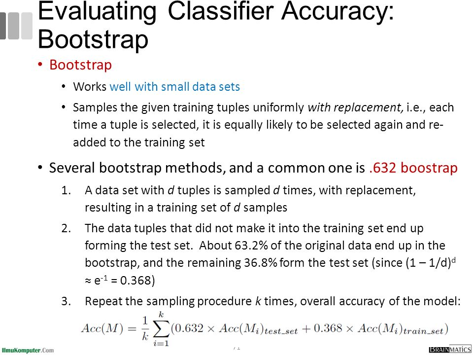 Bootstrap Works well with small data sets Samples the given training tuples uniformly with replacement, i.e., each time a tuple is selected, it is equally likely to be selected again and re- added to the training set Several bootstrap methods, and a common one is.632 boostrap 1.A data set with d tuples is sampled d times, with replacement, resulting in a training set of d samples 2.The data tuples that did not make it into the training set end up forming the test set.