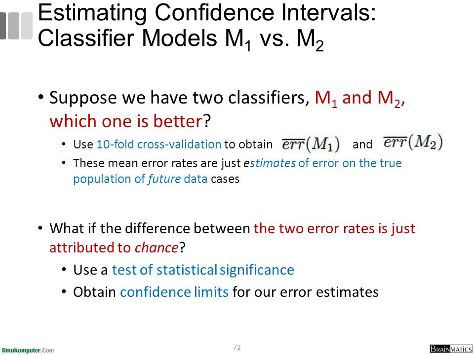 Suppose we have two classifiers, M 1 and M 2, which one is better.
