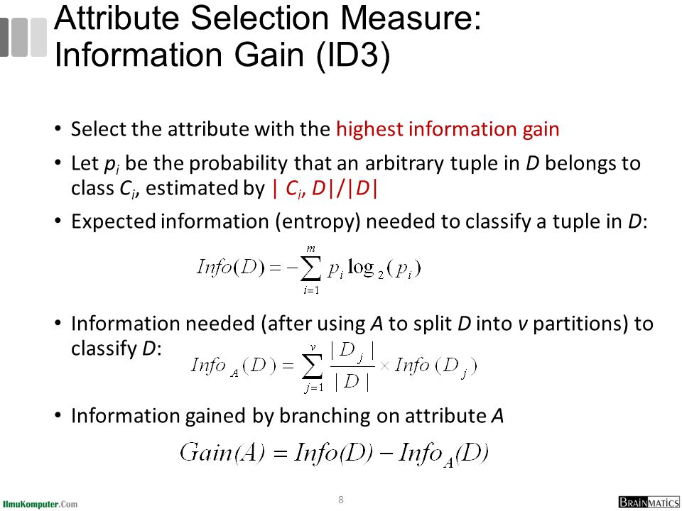 The three measures, in general, return good results but Information gain: biased towards multivalued attributes Gain ratio: tends to prefer unbalanced splits in which one partition is much smaller than the others Gini index: biased to multivalued attributes has difficulty when # of classes is large tends to favor tests that result in equal-sized partitions and purity in both partitions 29 Comparing Attribute Selection Measures