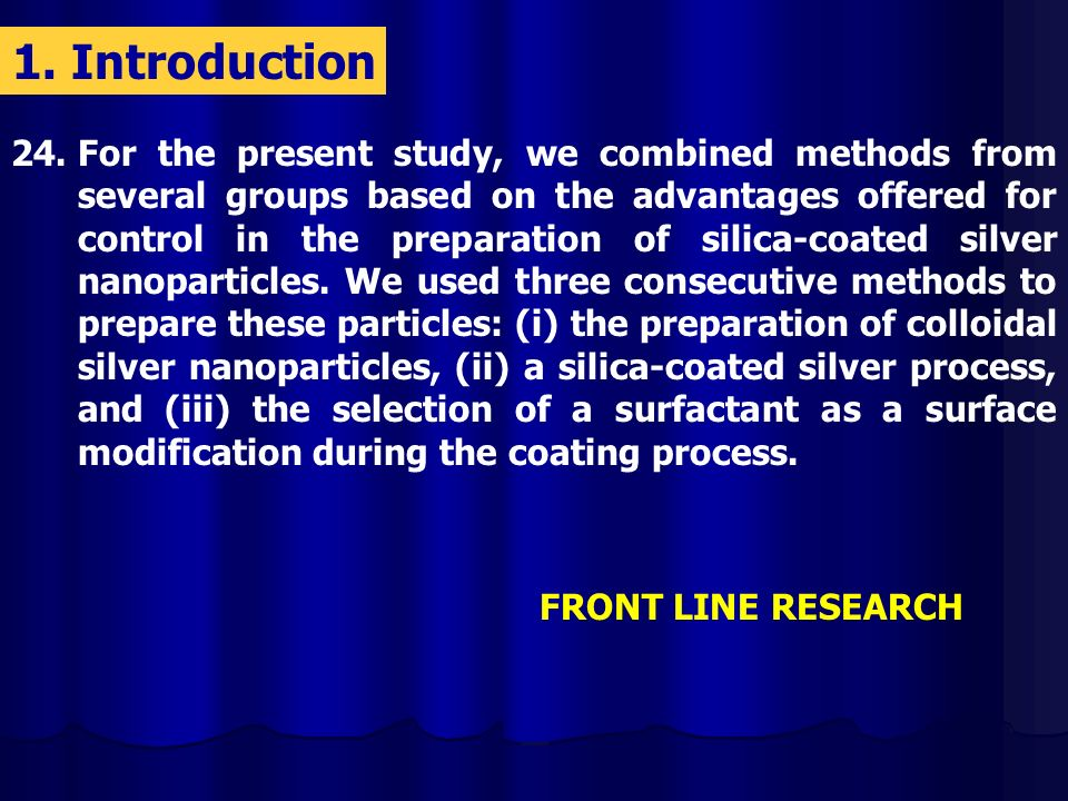24.For the present study, we combined methods from several groups based on the advantages offered for control in the preparation of silica-coated silver nanoparticles.