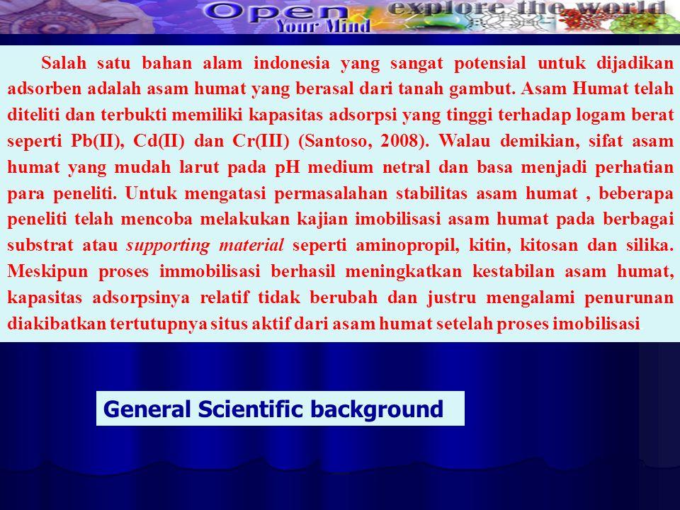 Salah satu bahan alam indonesia yang sangat potensial untuk dijadikan adsorben adalah asam humat yang berasal dari tanah gambut. Asam Humat telah dite