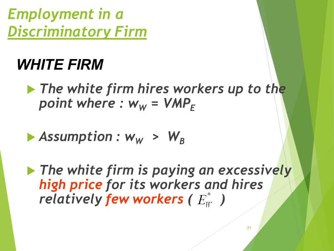 Employment in a Discriminatory Firm  The white firm hires workers up to the point where : wW wW = VMP E  Assumption : w W > WBWB  The white firm is