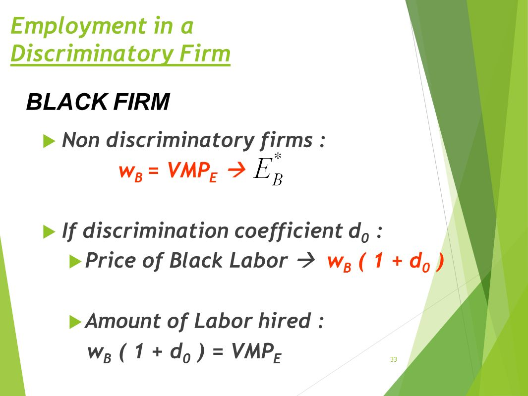 Employment in a Discriminatory Firm  Non discriminatory firms : w B = VMP E   If discrimination coefficient d 0 :  Price of Black Labor  w B ( 1