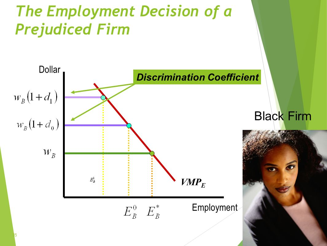 The Employment Decision of a Prejudiced Firm 35 Dollar Employment VMP E Black Firm Discrimination Coefficient