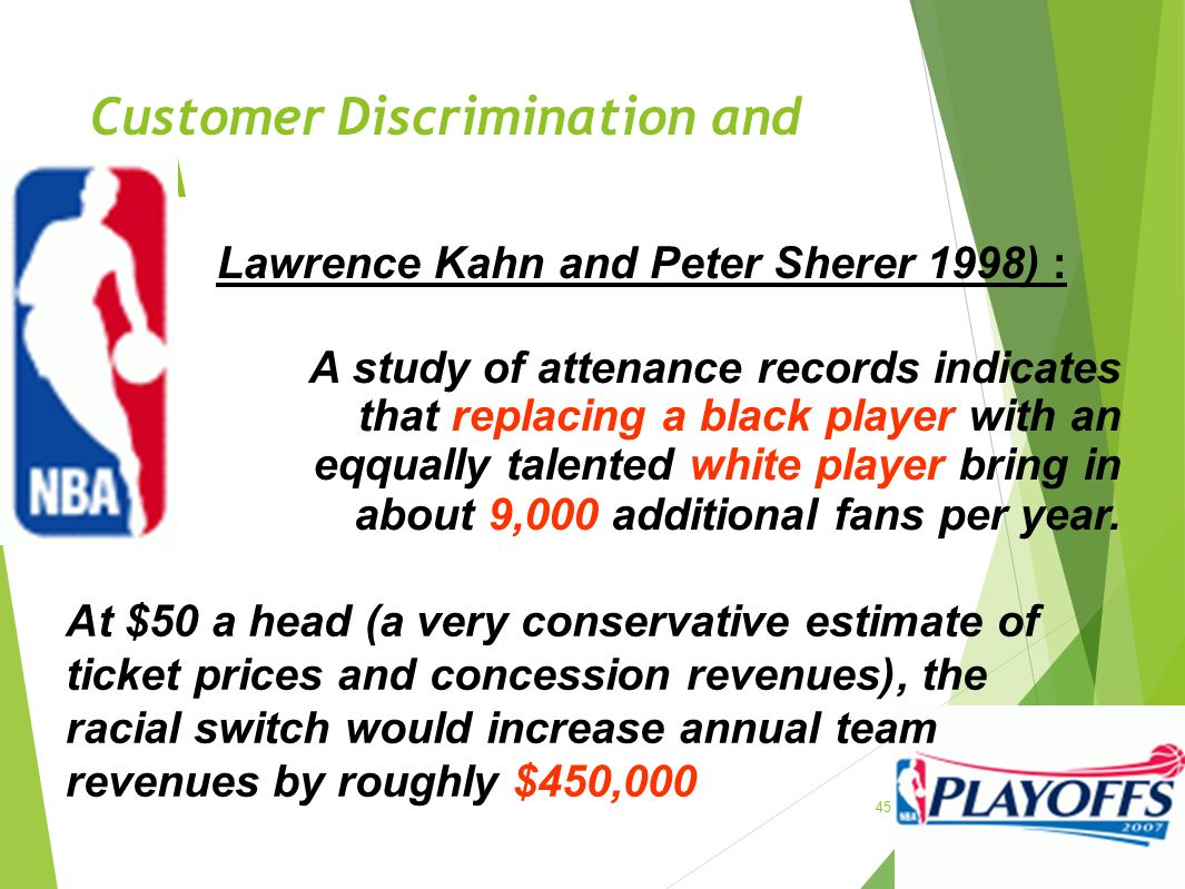 Customer Discrimination and NBA 45 Lawrence Kahn and Peter Sherer 1998) : A study of attenance records indicates that replacing a black player with an