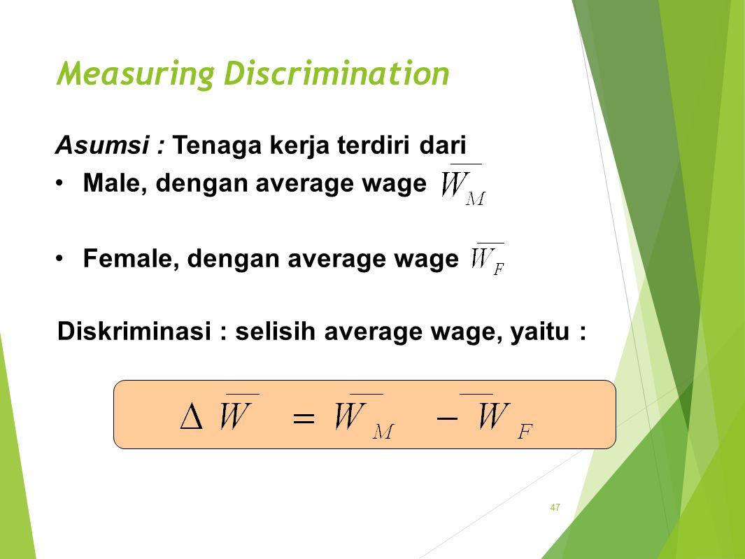 Measuring Discrimination 47 Diskriminasi : selisih average wage, yaitu : Asumsi : Tenaga kerja terdiri dari Male, dengan average wage Female, dengan average wage