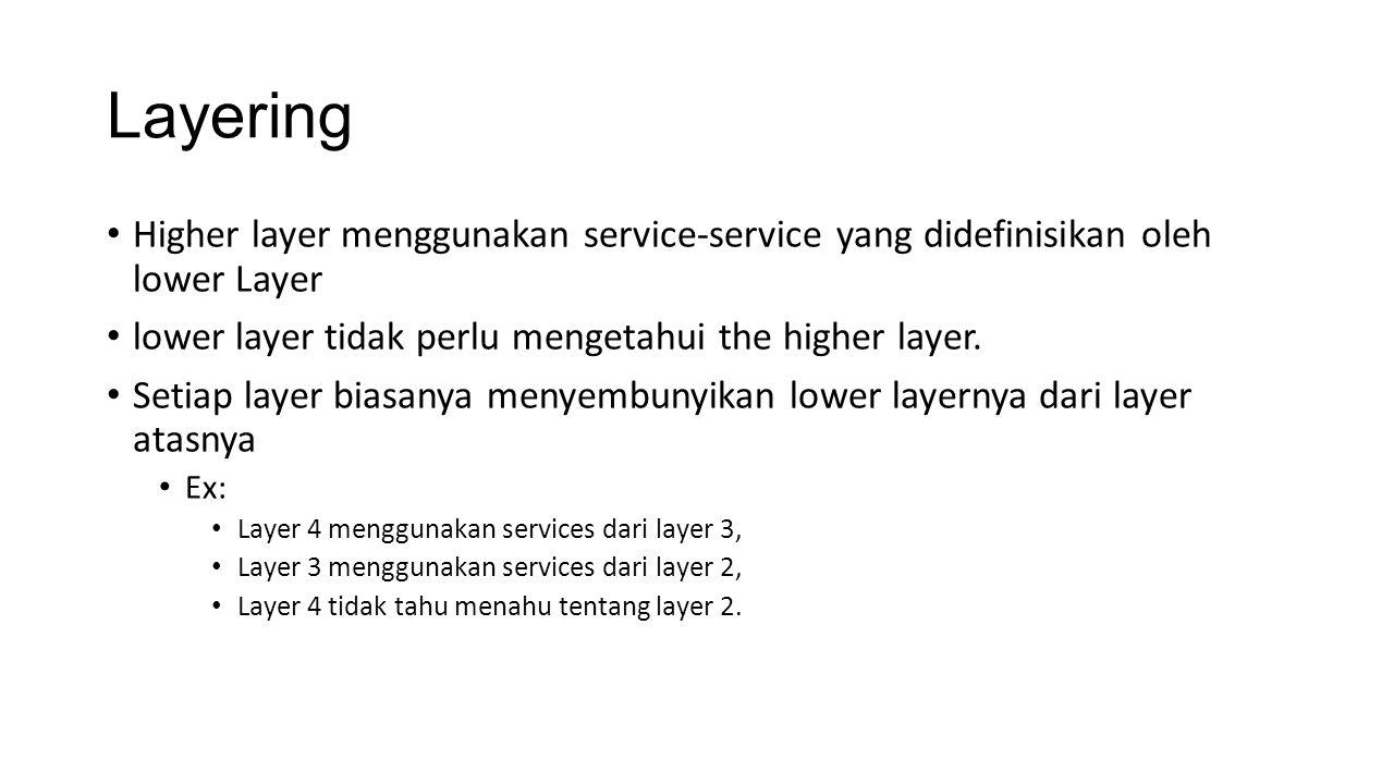 Layering Higher layer menggunakan service-service yang didefinisikan oleh lower Layer lower layer tidak perlu mengetahui the higher layer.