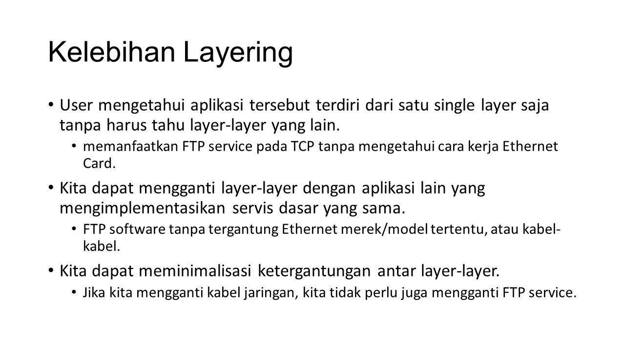 Kelebihan Layering User mengetahui aplikasi tersebut terdiri dari satu single layer saja tanpa harus tahu layer-layer yang lain.