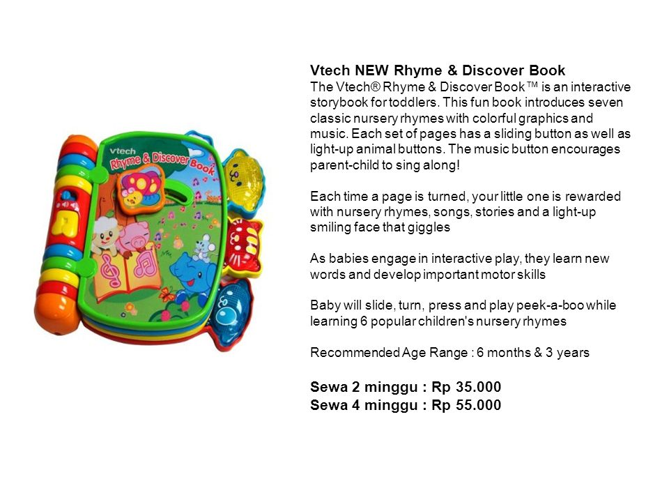 Vtech NEW Rhyme & Discover Book The Vtech® Rhyme & Discover Book™ is an interactive storybook for toddlers. This fun book introduces seven classic nur