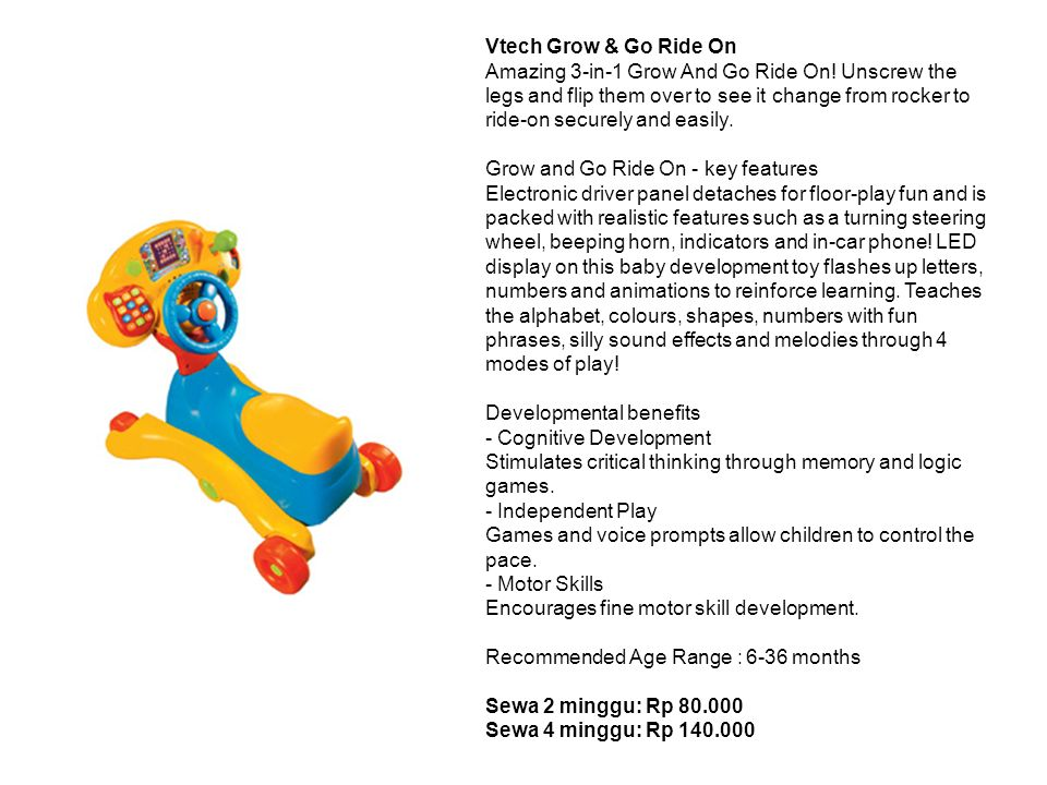 Vtech Grow & Go Ride On Amazing 3-in-1 Grow And Go Ride On.