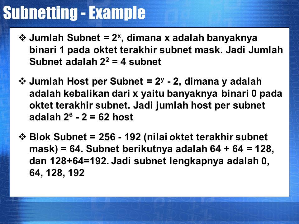 Subnetting - Example  Jumlah Subnet = 2 x, dimana x adalah banyaknya binari 1 pada oktet terakhir subnet mask.