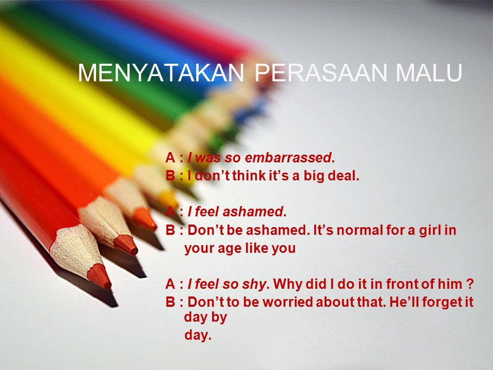MENYATAKAN PERASAAN MALU A : I was so embarrassed. B : I don't think it's a big deal. A : I feel ashamed. B : Don't be ashamed. It's normal for a girl