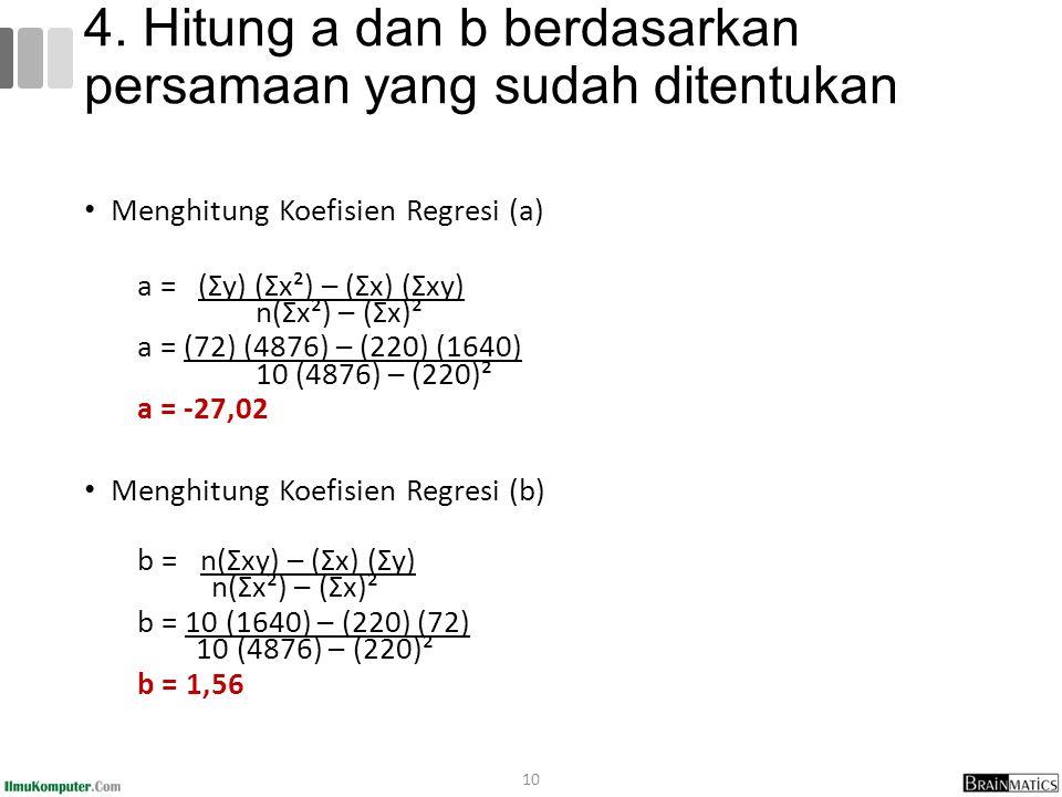 Menghitung Koefisien Regresi (a) a = (Σy) (Σx²) – (Σx) (Σxy) n(Σx²) – (Σx)² a = (72) (4876) – (220) (1640) 10 (4876) – (220)² a = -27,02 Menghitung Koefisien Regresi (b) b = n(Σxy) – (Σx) (Σy) n(Σx²) – (Σx)² b = 10 (1640) – (220) (72) 10 (4876) – (220)² b = 1,56 10 4.