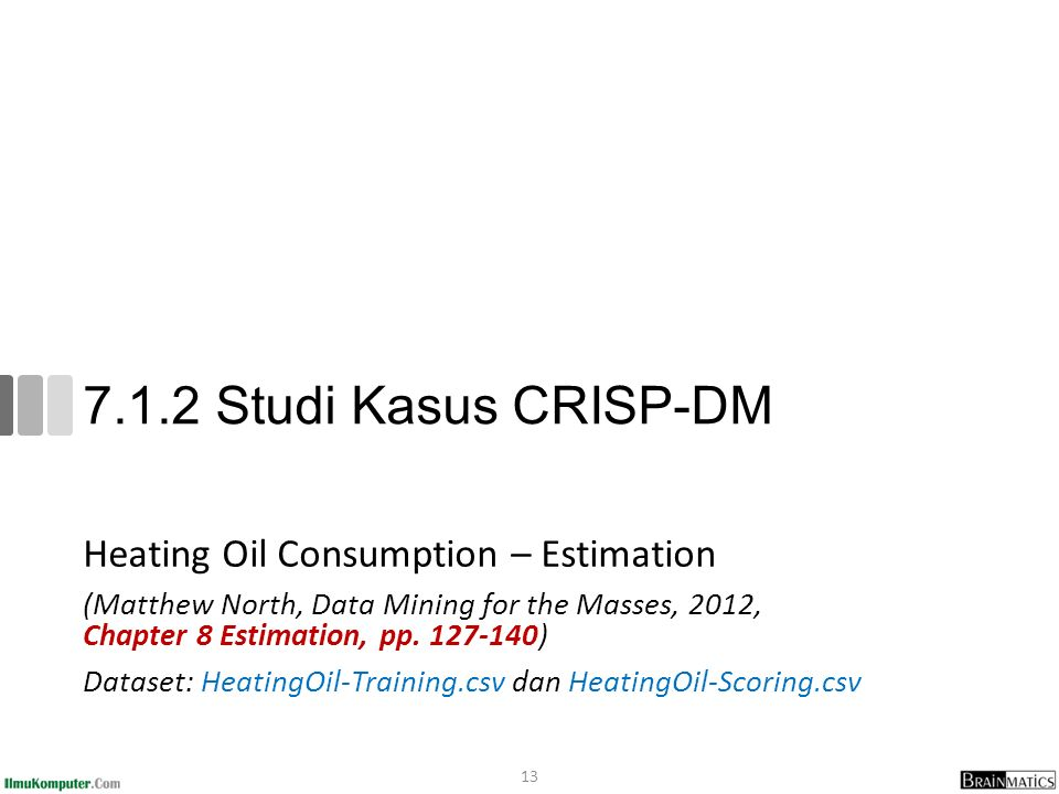 7.1.2 Studi Kasus CRISP-DM Heating Oil Consumption – Estimation (Matthew North, Data Mining for the Masses, 2012, Chapter 8 Estimation, pp.