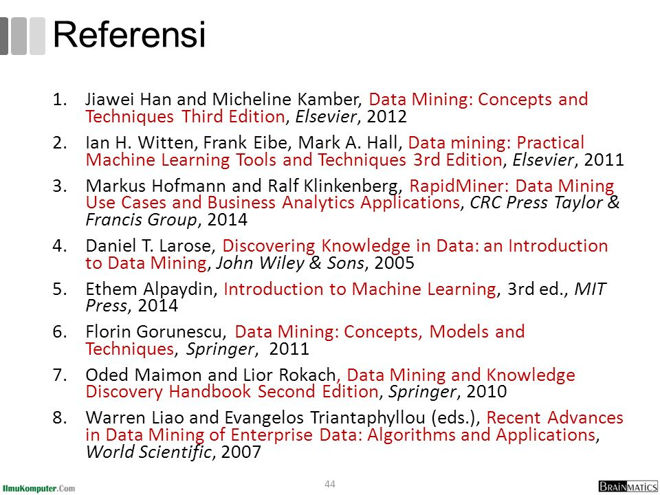 1.Jiawei Han and Micheline Kamber, Data Mining: Concepts and Techniques Third Edition, Elsevier, 2012 2.Ian H. Witten, Frank Eibe, Mark A. Hall, Data