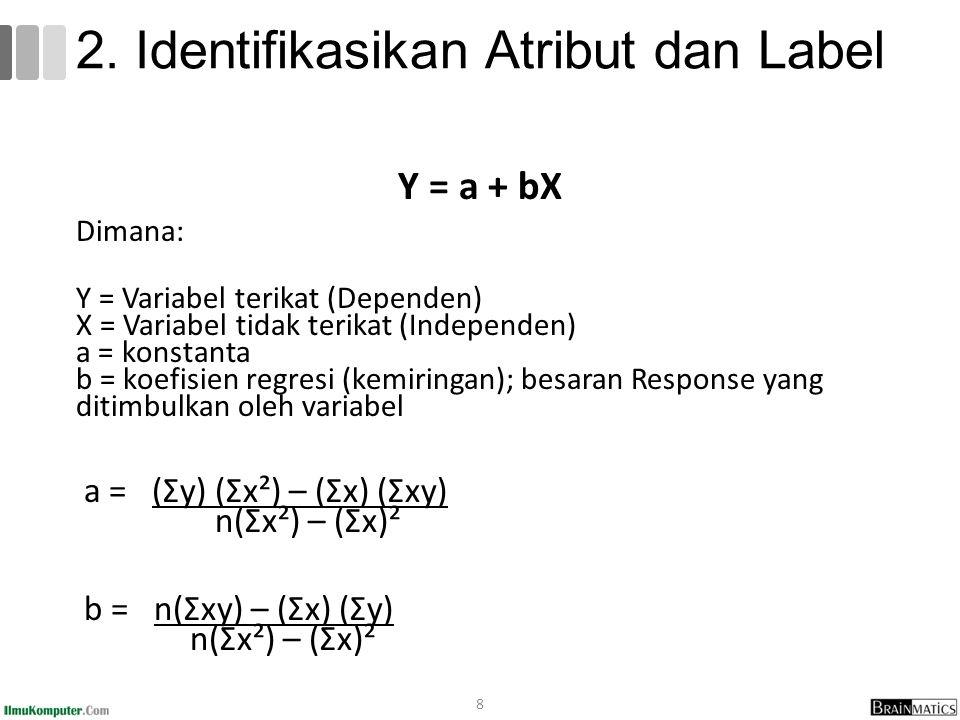 Y = a + bX Dimana: Y = Variabel terikat (Dependen) X = Variabel tidak terikat (Independen) a = konstanta b = koefisien regresi (kemiringan); besaran Response yang ditimbulkan oleh variabel a = (Σy) (Σx²) – (Σx) (Σxy) n(Σx²) – (Σx)² b = n(Σxy) – (Σx) (Σy) n(Σx²) – (Σx)² 8 2.