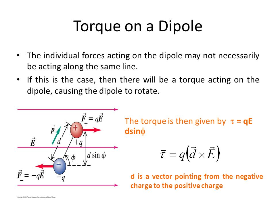 Torque on a Dipole The individual forces acting on the dipole may not necessarily be acting along the same line.