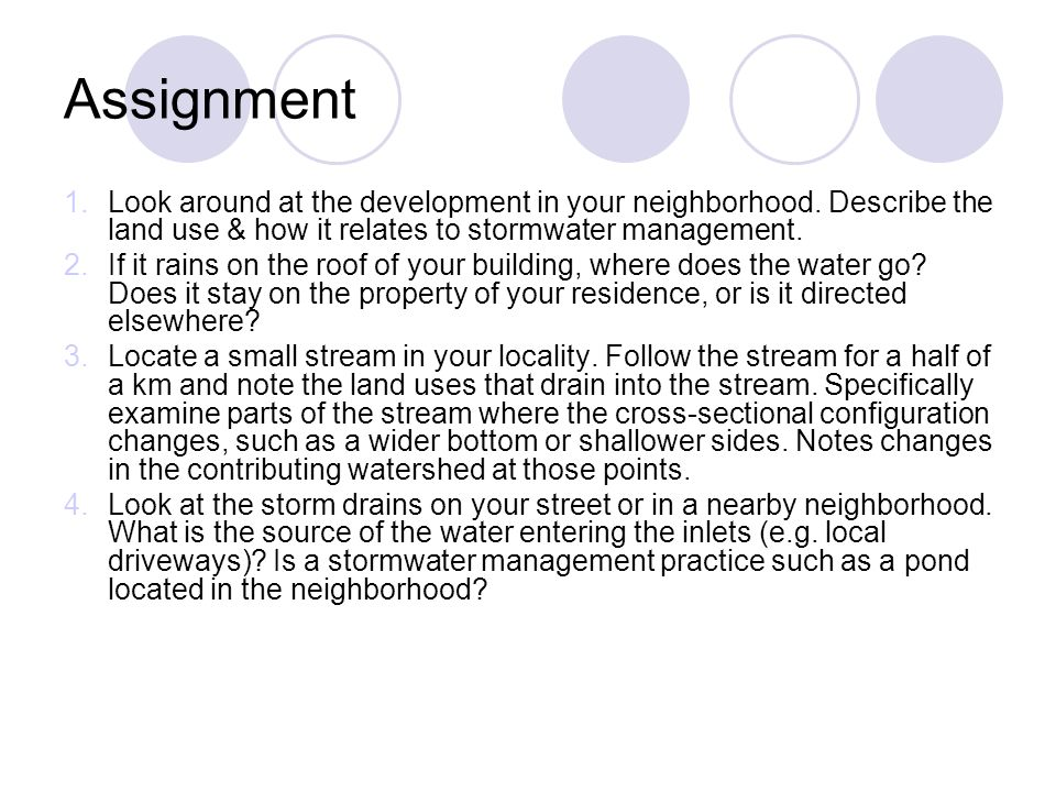 Assignment 1.Look around at the development in your neighborhood. Describe the land use & how it relates to stormwater management. 2.If it rains on th