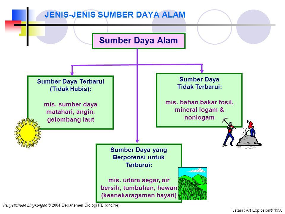 JENIS-JENIS SUMBER DAYA ALAM Sumber Daya Alam Sumber Daya Terbarui (Tidak Habis): mis. sumber daya matahari, angin, gelombang laut Sumber Daya Tidak T