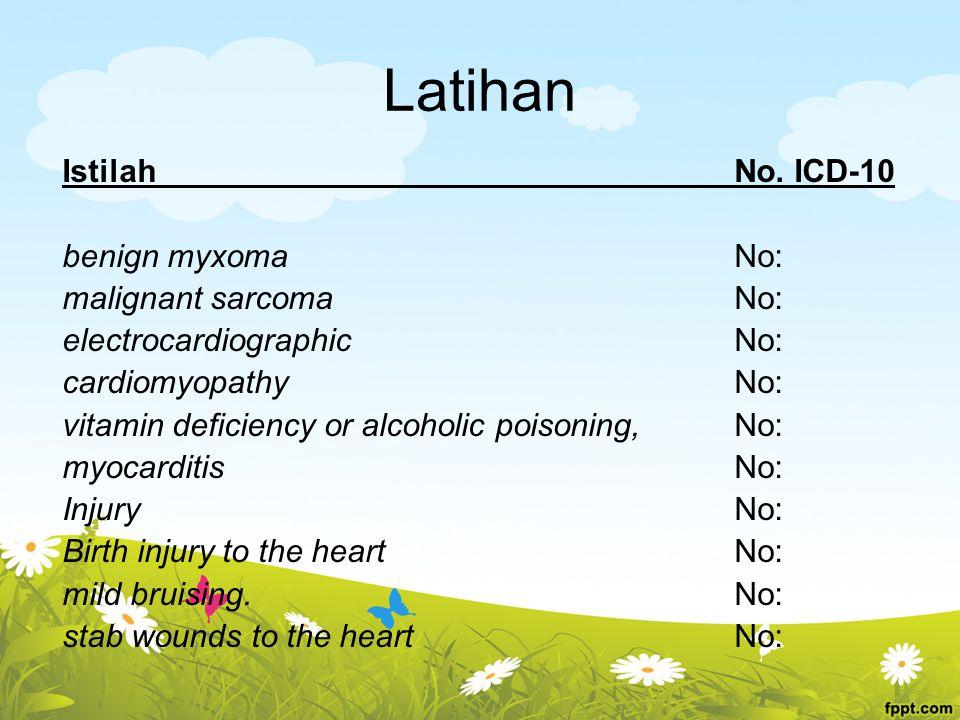 Latihan IstilahNo. ICD-10 benign myxoma No: malignant sarcoma No: electrocardiographic No: cardiomyopathy No: vitamin deficiency or alcoholic poisonin