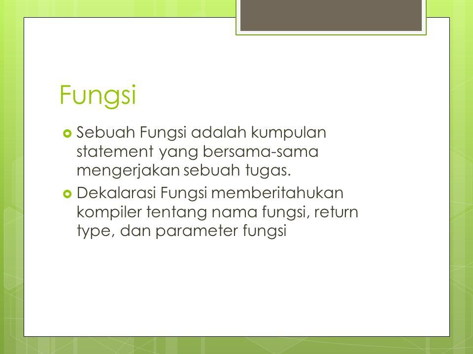 Fungsi  Sebuah Fungsi adalah kumpulan statement yang bersama-sama mengerjakan sebuah tugas.  Dekalarasi Fungsi memberitahukan kompiler tentang nama