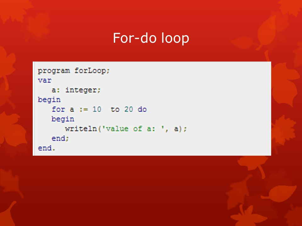 For-do loop
