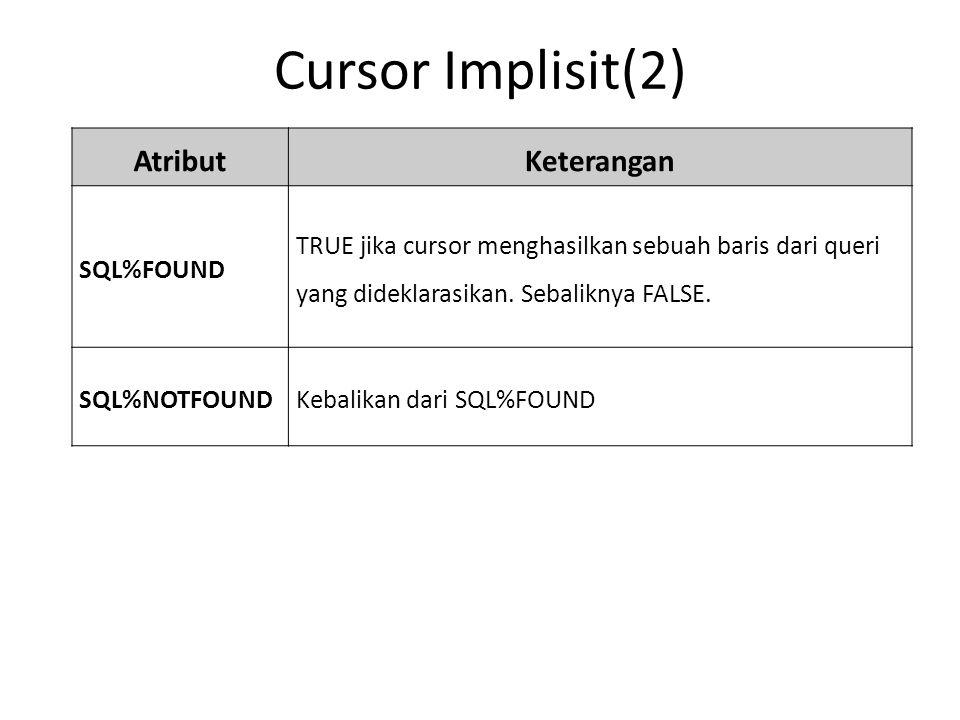Cursor Implisit(2) AtributKeterangan SQL%FOUND TRUE jika cursor menghasilkan sebuah baris dari queri yang dideklarasikan.